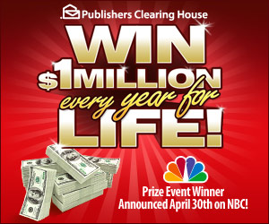 Publishers Clearing House WIN $1 MILLION every year for Life - Banner